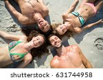 high angle view of smiling... | Shutterstock . vector #631744958