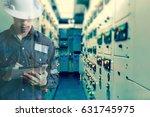 double exposure of  engineer or ...   Shutterstock . vector #631745975