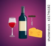 glass of wine  bottle of wine ... | Shutterstock .eps vector #631746182