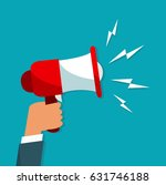 hand holding megaphone on blue... | Shutterstock .eps vector #631746188