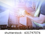 man worker handling smart phone ... | Shutterstock . vector #631747076