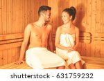 young couple relaxing inside a...   Shutterstock . vector #631759232