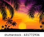 card with realistic palm trees... | Shutterstock .eps vector #631772936