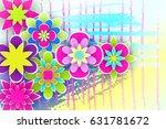 arrangement of paper flowers... | Shutterstock .eps vector #631781672