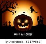 halloween pumpkin in a creepy... | Shutterstock .eps vector #63179563