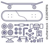 Skateboard Repair Icon Set....