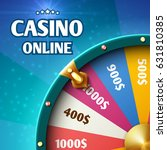 Stock vector internet casino marketing vector background with spinning fortune wheel 631810385
