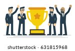 businessman teamwork and trophy.... | Shutterstock .eps vector #631815968