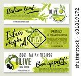 olive oil banner template set.... | Shutterstock .eps vector #631819172