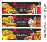 fast food lunch dishes and... | Shutterstock .eps vector #631819232