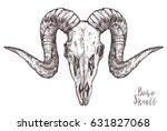 sketch of ram skull. boho and... | Shutterstock .eps vector #631827068