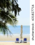 beach chair on the beach with... | Shutterstock . vector #631827716