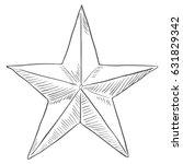 vector sketch star shape on... | Shutterstock .eps vector #631829342