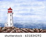 Lighthouse. Watercolor Hand...