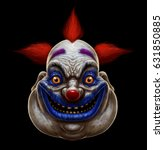 evil scary smiling fat clown.... | Shutterstock . vector #631850885
