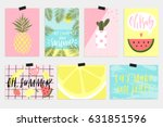 summer vector greeting cards ... | Shutterstock .eps vector #631851596