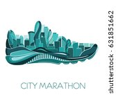 city marathon. poster   running ... | Shutterstock .eps vector #631851662