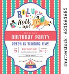 kids birthday party invitation... | Shutterstock .eps vector #631861685