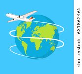 flying plane. the path plane.... | Shutterstock .eps vector #631862465