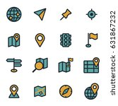 vector flat map icons set on... | Shutterstock .eps vector #631867232