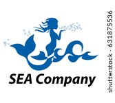 vector sign mermaid blowing on... | Shutterstock .eps vector #631875536