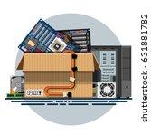 illustration of a cardboard box ... | Shutterstock .eps vector #631881782