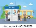 buying bus tickets. people in... | Shutterstock .eps vector #631889372