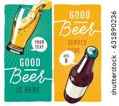 realistic vector beer bottle... | Shutterstock .eps vector #631890236