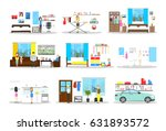 house interior set. inside the... | Shutterstock .eps vector #631893572