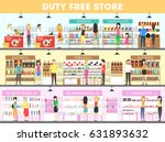 duty free interior set. people... | Shutterstock .eps vector #631893632
