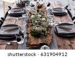 table served for wedding dinner ... | Shutterstock . vector #631904912