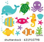 sea animals vector set | Shutterstock .eps vector #631910798