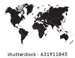 black world map on a white... | Shutterstock .eps vector #631911845