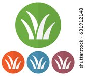 set of grass icon on a colorful ... | Shutterstock .eps vector #631912148