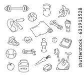 hand drawn fitness doodles.... | Shutterstock .eps vector #631913528