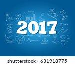2017 word on light blue...   Shutterstock .eps vector #631918775