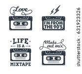 hand drawn 90s themed set of... | Shutterstock .eps vector #631923326
