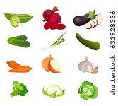 set of vegetables zucchini ...   Shutterstock .eps vector #631928336