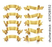 golden ribbons and gold award... | Shutterstock .eps vector #631928552