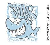 cartoon shark t shirt print... | Shutterstock .eps vector #631932362