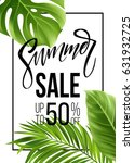 sale banner  poster with palm...   Shutterstock .eps vector #631932725