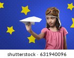 cheerful asian kid with aviator ... | Shutterstock . vector #631940096