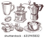coffee set. collection of hand... | Shutterstock .eps vector #631945832