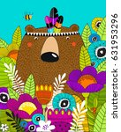 vector poster with a bear in... | Shutterstock .eps vector #631953296