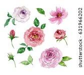 painted watercolor set of... | Shutterstock . vector #631966202