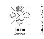 logo canada. hipster emblem ...   Shutterstock . vector #631968122