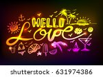 neon lettering hello love on a... | Shutterstock .eps vector #631974386