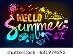 neon lettering hello summer on... | Shutterstock .eps vector #631974392
