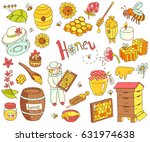 vector honey element doodle set ... | Shutterstock .eps vector #631974638