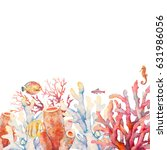 watercolor coral border. hand... | Shutterstock . vector #631986056